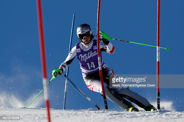 Nicole Hosp of Austria competes during the Audi FIS Alpine Ski World Cup Women's Slalom on December 17 2013 in Courchevel France