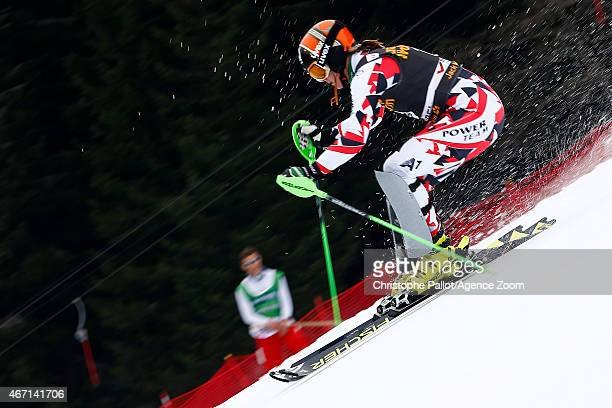 Nicole Hosp of Austria competes during the Audi FIS Alpine Ski World Cup Finals Women's Slalom on March 21 2015 in Meribel France
