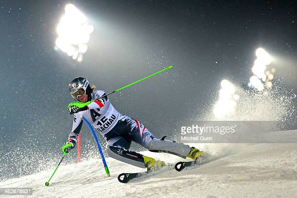 Nicole Hosp of Austria competes during the FIS Alpine Ski World Cup Women's race on January 14 2014 in Flachau Austria