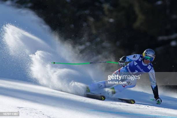 Nicole Hosp of Austria races down the course competing in the Audi FIS Ski World Cup Women's SuperG on March 01 2013 in Garmisch Partenkirchen Germany