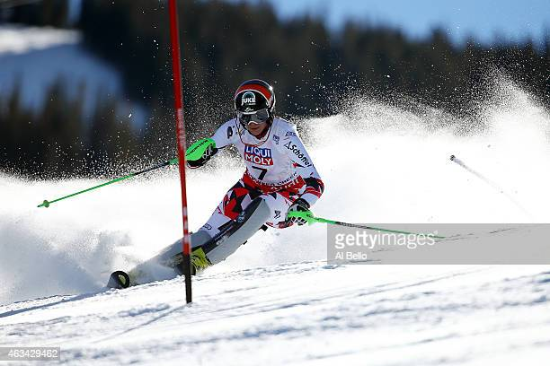 Nicole Hosp of Austria races during the Ladies' Slalom on the Golden Eagle racecourse on Day 13 of the 2015 FIS Alpine World Ski Championships on...