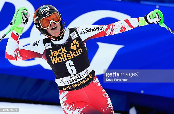 Nicole Hosp of Austria reacts after her second run as she won the ladies slalom at the 2014 Audi FIS Ski World Cup at the Nature Valley Aspen...