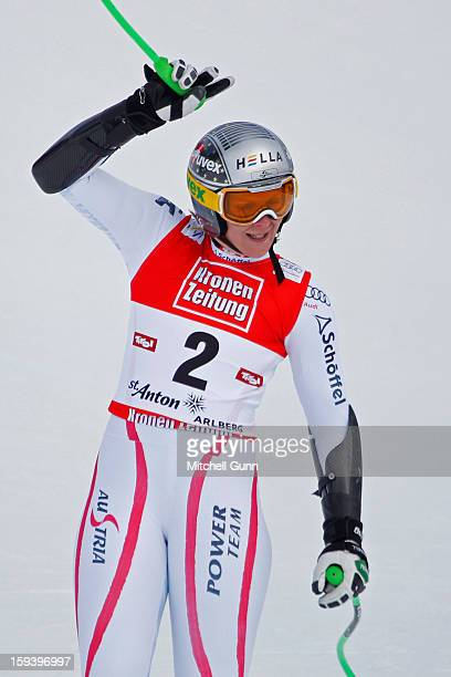 Nicole Hosp of Austria reacts in the finish area after competing in the Audi FIS Alpine Ski World Cup Super Giant Slalom race on January 13 2013 in...