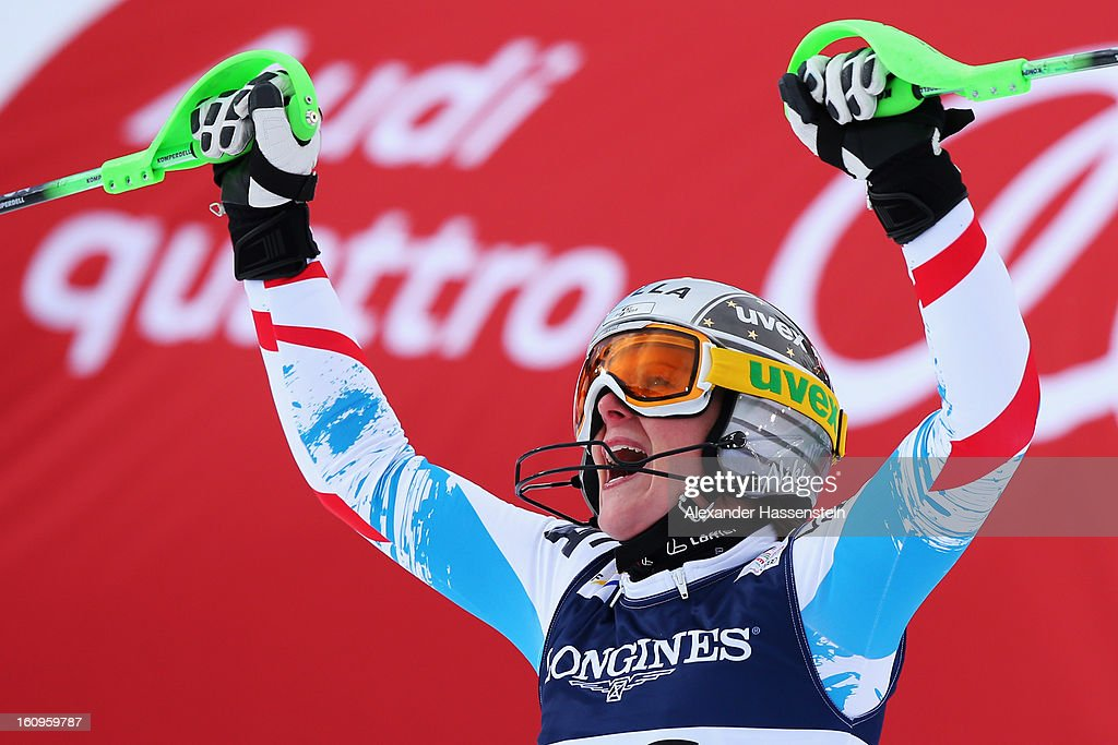 Nicole Hosp of Austria reacts in the finish area after skiing in the Slalom section of the Women's Super Combined during the Alpine FIS Ski World Championships on February 8, 2013 in Schladming, Austria.