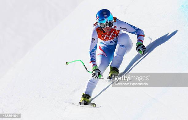 Nicole Hosp of Austria skis during the Alpine Skiing Women's Downhill on day 5 of the Sochi 2014 Winter Olympics at Rosa Khutor Alpine Center on...