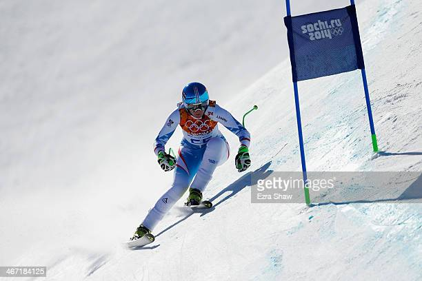 Nicole Hosp of Austria skis during training for the Alpine Skiing Women's Downhill ahead of the Sochi 2014 Winter Olympics at Rosa Khutor Alpine...