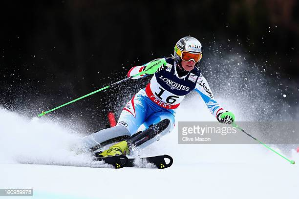 Nicole Hosp of Austria skis in the Slalom section on her way to finishing third in the Women's Super Combined during the Alpine FIS Ski World...