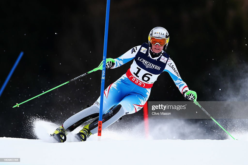 <a gi-track='captionPersonalityLinkClicked' href=/galleries/search?phrase=Nicole+Hosp&family=editorial&specificpeople=226750 ng-click='$event.stopPropagation()'>Nicole Hosp</a> of Austria skis in the Slalom section on her way to finishing third in the Women's Super Combined during the Alpine FIS Ski World Championships on February 8, 2013 in Schladming, Austria.
