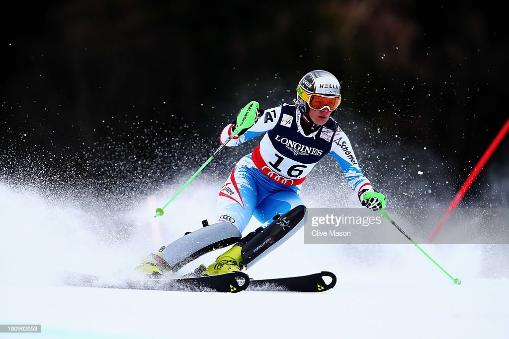 Nicole Hosp of Austria skis in the Slalom section on her way to finishing third in the Women's Super Combined during the Alpine FIS Ski World Championships on February 8, 2013 in Schladming, Austria.