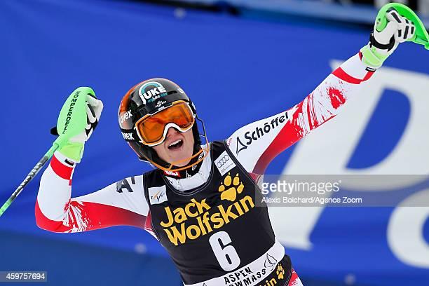 Nicole Hosp of Austria takes the 1st place during the Audi FIS Alpine Ski World Cup Women's Slalom on November 30 2014 in Aspen Colorado