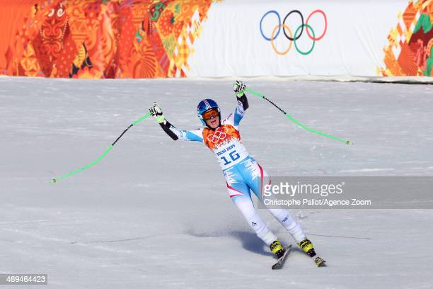 Nicole Hosp of Austria wins the bronze medal during the Alpine Skiing Women's SuperG at the Sochi 2014 Winter Olympic Games at Rosa Khutor Alpine...