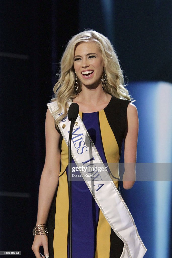 Nicole Kelly, Miss Iowa introduces herself as she attends 2014 Miss America News Competition - Preliminary Round 1 at Atlantic City Boardwalk Hall on September 11, 2013 in Atlantic City, New Jersey.