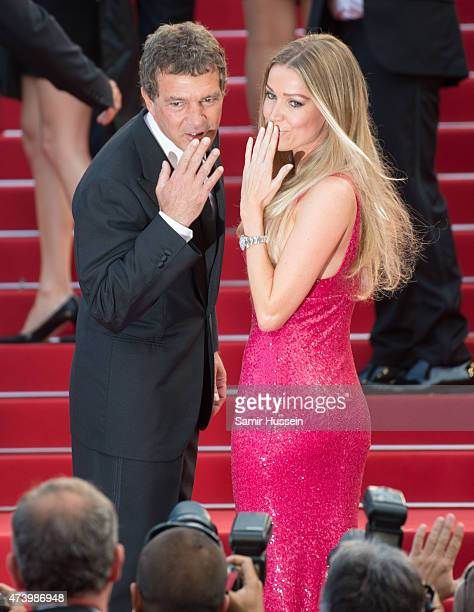 Nicole Kempel and Antonio Banderas attend the 'Sicario' Premiere during the 68th annual Cannes Film Festival on May 19 2015 in Cannes France