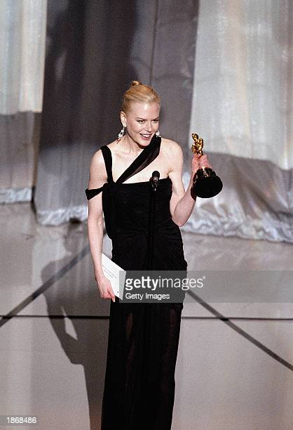 Nicole Kidman accepts her award for Best Actress for her performance in 'The Hours' during the 75th Annual Academy Awards at the Kodak Theater on...