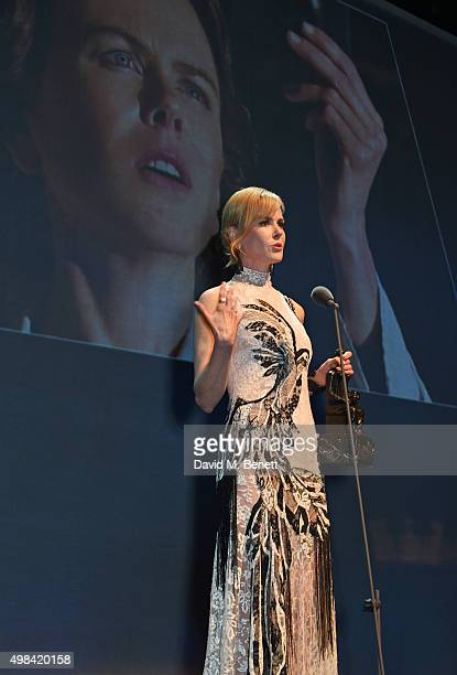 Nicole Kidman accepts the Natasha Richardson Award For Best Actress for 'Photograph 51' at The London Evening Standard Theatre Awards in partnership...