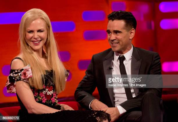 Nicole Kidman and Colin Farrell during filming of the Graham Norton Show at the London Studios to be aired on BBC One on Friday evening