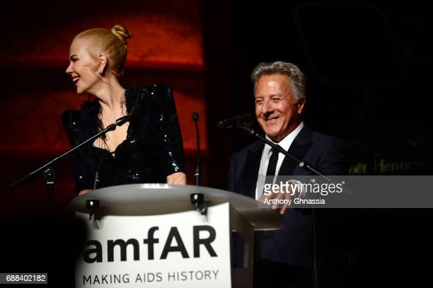Nicole Kidman and Dustin Hofmann speak on stage during the amfAR Gala Cannes 2017 at Hotel du CapEdenRoc on May 25 2017 in Cap d'Antibes France