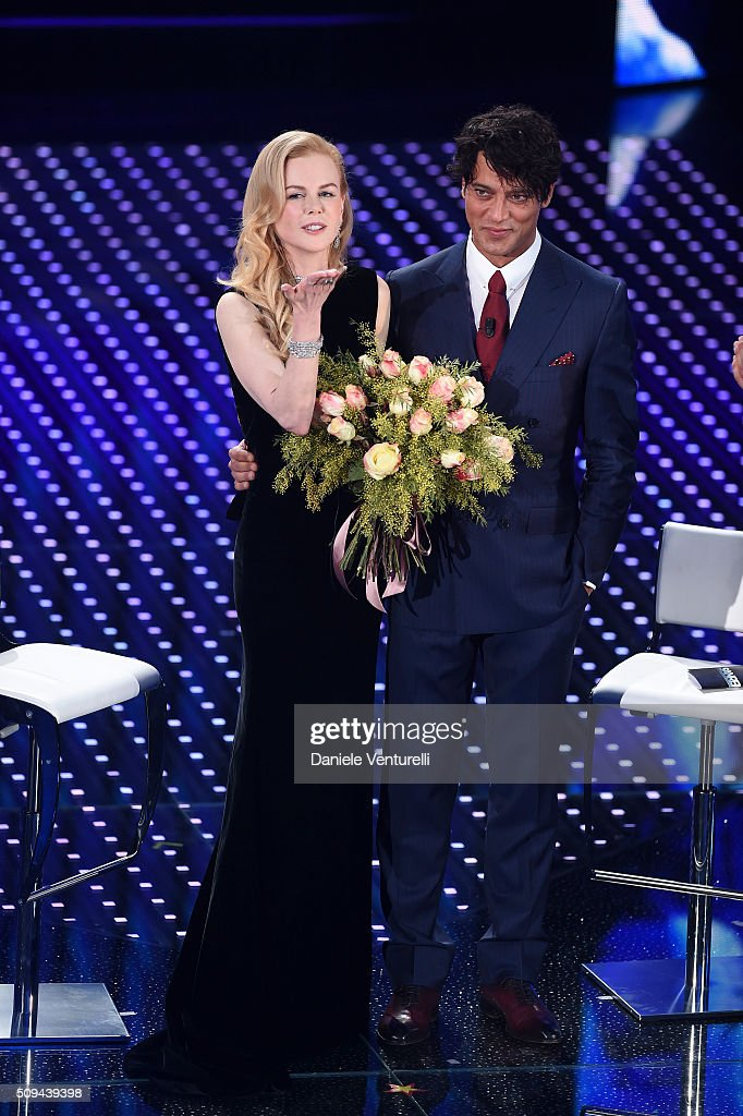 <a gi-track='captionPersonalityLinkClicked' href=/galleries/search?phrase=Nicole+Kidman&family=editorial&specificpeople=156404 ng-click='$event.stopPropagation()'>Nicole Kidman</a> and <a gi-track='captionPersonalityLinkClicked' href=/galleries/search?phrase=Gabriel+Garko&family=editorial&specificpeople=4811088 ng-click='$event.stopPropagation()'>Gabriel Garko</a> attend second night of the 66th Festival di Sanremo 2016 at Teatro Ariston on February 10, 2016 in Sanremo, Italy.