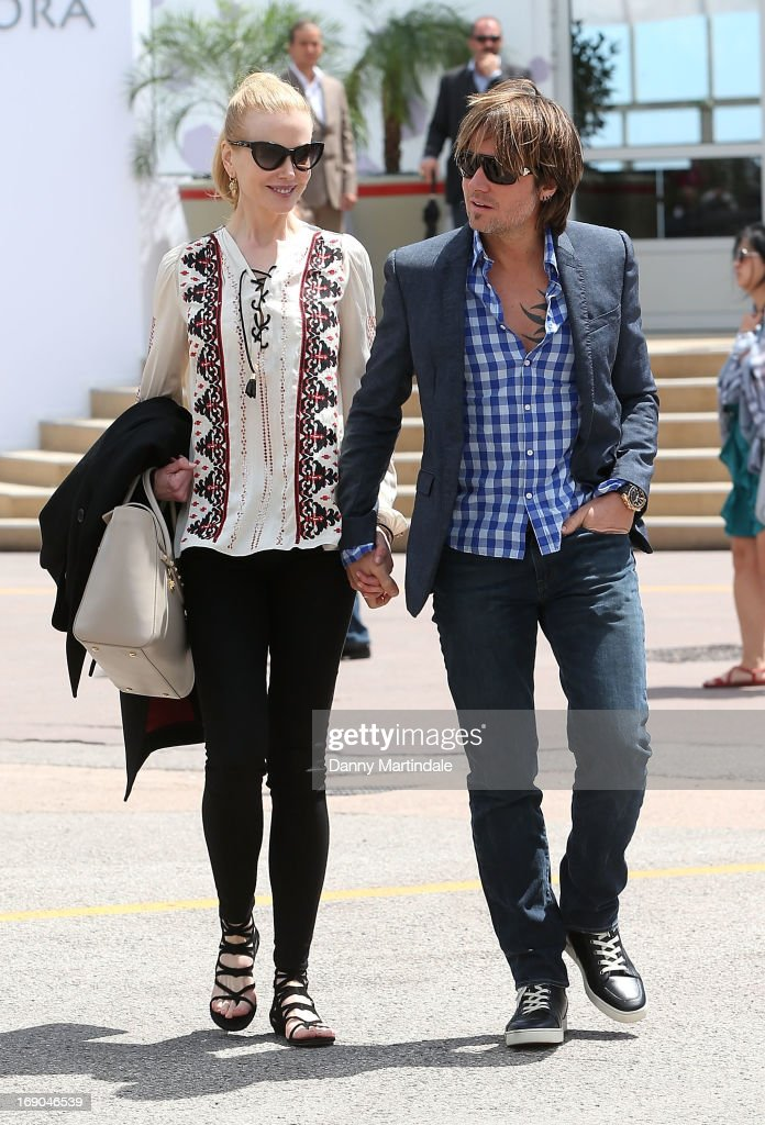 <a gi-track='captionPersonalityLinkClicked' href=/galleries/search?phrase=Nicole+Kidman&family=editorial&specificpeople=156404 ng-click='$event.stopPropagation()'>Nicole Kidman</a> and <a gi-track='captionPersonalityLinkClicked' href=/galleries/search?phrase=Keith+Urban&family=editorial&specificpeople=202997 ng-click='$event.stopPropagation()'>Keith Urban</a> are seen leaving the Electrolux restarant after having lunch on day 5 of the 66th Annual Cannes Film Festival on May 19, 2013 in Cannes, France.