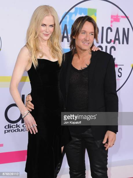 Nicole Kidman and Keith Urban attend the 2017 American Music Awards at Microsoft Theater on November 19 2017 in Los Angeles California