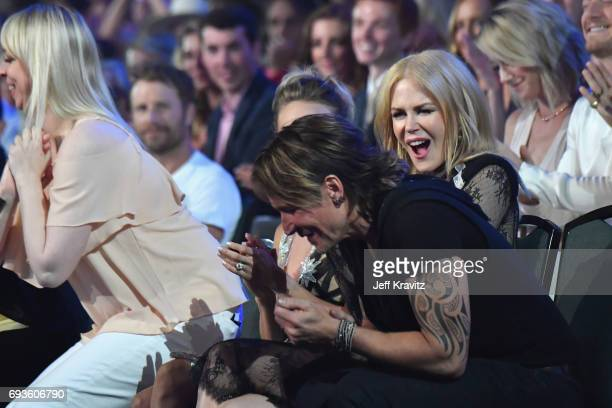 Nicole Kidman and Keith Urban react to his win at the 2017 CMT Music Awards at the Music City Center on June 7 2017 in Nashville Tennessee