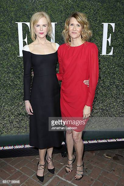 Nicole Kidman and Laura Dern attend the ELLE's Annual Women In Television Celebration 2017 Red Carpet at Chateau Marmont on January 14 2017 in Los...