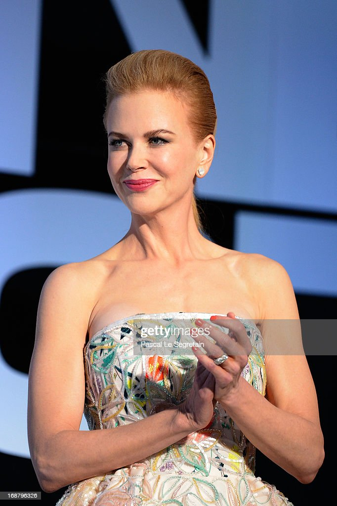 <a gi-track='captionPersonalityLinkClicked' href=/galleries/search?phrase=Nicole+Kidman&family=editorial&specificpeople=156404 ng-click='$event.stopPropagation()'>Nicole Kidman</a> appears on stage during the Opening Ceremony of the 66th Annual Cannes Film Festival at the Palais des Festivals on May 15, 2013 in Cannes, France.