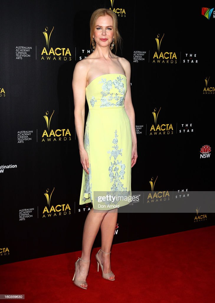 <a gi-track='captionPersonalityLinkClicked' href=/galleries/search?phrase=Nicole+Kidman&family=editorial&specificpeople=156404 ng-click='$event.stopPropagation()'>Nicole Kidman</a> arrives for the 2nd Annual AACTA Awards at The Star on January 30, 2013 in Sydney, Australia.