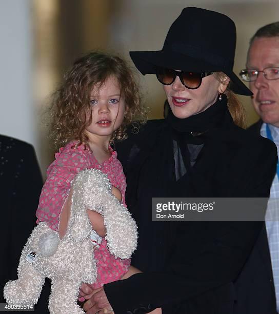 Nicole Kidman arrives with daughter Faith Urban at Sydney International Airport on June 11 2014 in Sydney Australia