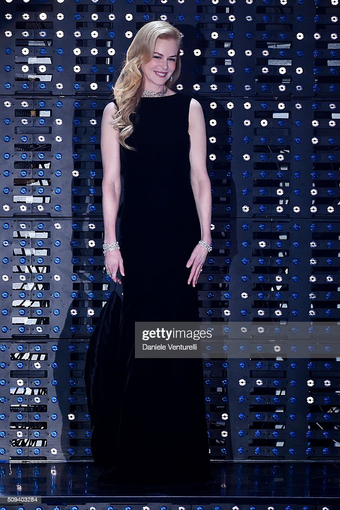<a gi-track='captionPersonalityLinkClicked' href=/galleries/search?phrase=Nicole+Kidman&family=editorial&specificpeople=156404 ng-click='$event.stopPropagation()'>Nicole Kidman</a> attends second night of the 66th Festival di Sanremo 2016 at Teatro Ariston on February 10, 2016 in Sanremo, Italy.