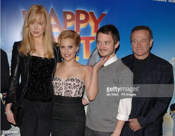 Nicole Kidman Brittany Murphy Elijah Wood and Robin Williams arrive for the UK Premiere of Happy Feet at the Empire Leicester Square in central London