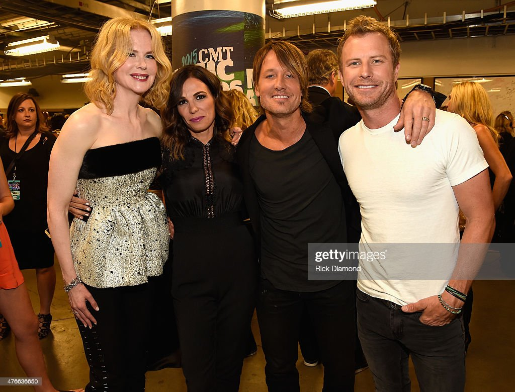 Nicole Kidman Cassidy Black Keith Urban and Dierks Bentley attend the 2015 CMT Music awards at the Bridgestone Arena on June 10 2015 in Nashville...