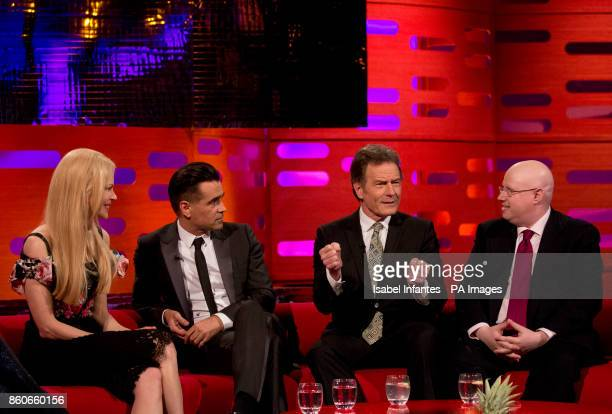 Nicole Kidman Colin Farrell Bryan Cranston and Matt Lucas during filming of the Graham Norton Show at the London Studios to be aired on BBC One on...