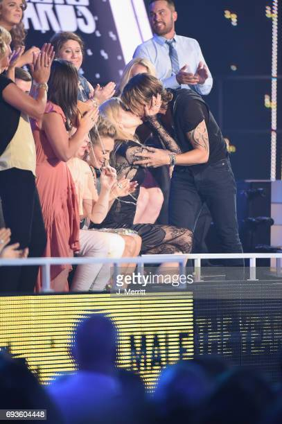 Nicole Kidman congratulates Keith Urban during the 2017 CMT Music Awards at the Music City Center on June 7 2017 in Nashville Tennessee