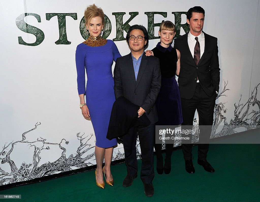 <a gi-track='captionPersonalityLinkClicked' href=/galleries/search?phrase=Nicole+Kidman&family=editorial&specificpeople=156404 ng-click='$event.stopPropagation()'>Nicole Kidman</a>, director Park Chan-Wook, <a gi-track='captionPersonalityLinkClicked' href=/galleries/search?phrase=Mia+Wasikowska&family=editorial&specificpeople=3965263 ng-click='$event.stopPropagation()'>Mia Wasikowska</a> and <a gi-track='captionPersonalityLinkClicked' href=/galleries/search?phrase=Matthew+Goode&family=editorial&specificpeople=216331 ng-click='$event.stopPropagation()'>Matthew Goode</a> attend a special screening of Stoker at Curzon Soho on February 17, 2013 in London, England.