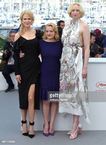 Nicole Kidman Elisabeth Moss and Gwendoline Christie attend the 'Top Of The Lake China Girl' Photocall during the 70th annual Cannes Film Festival at...