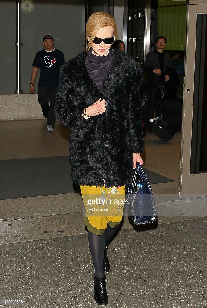 Nicole Kidman is seen at LAX Airport on January 9, 2013 in Los Angeles, California.