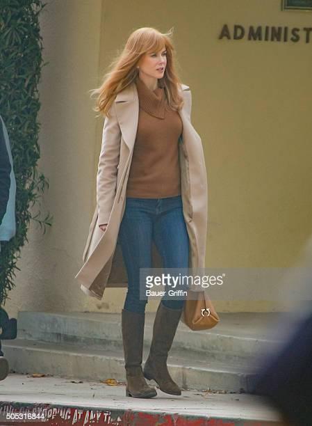 Nicole Kidman on the set of 'Big Little Lies' is seen on January 16 2016 in Los Angeles California