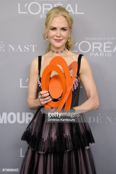 Nicole Kidman poses with an award at Glamour's 2017 Women of The Year Awards at Kings Theatre on November 13 2017 in Brooklyn New York