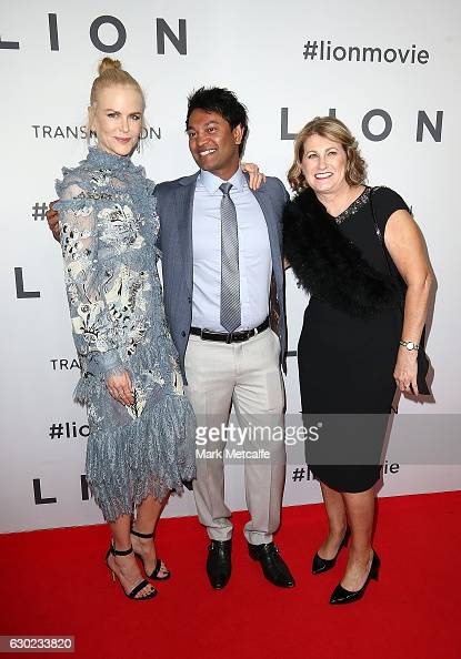Nicole Kidman Saroo Brierley and Sue Brierley arrive ahead of the Australian premiere of LION at State Theatre on December 19 2016 in Sydney Australia