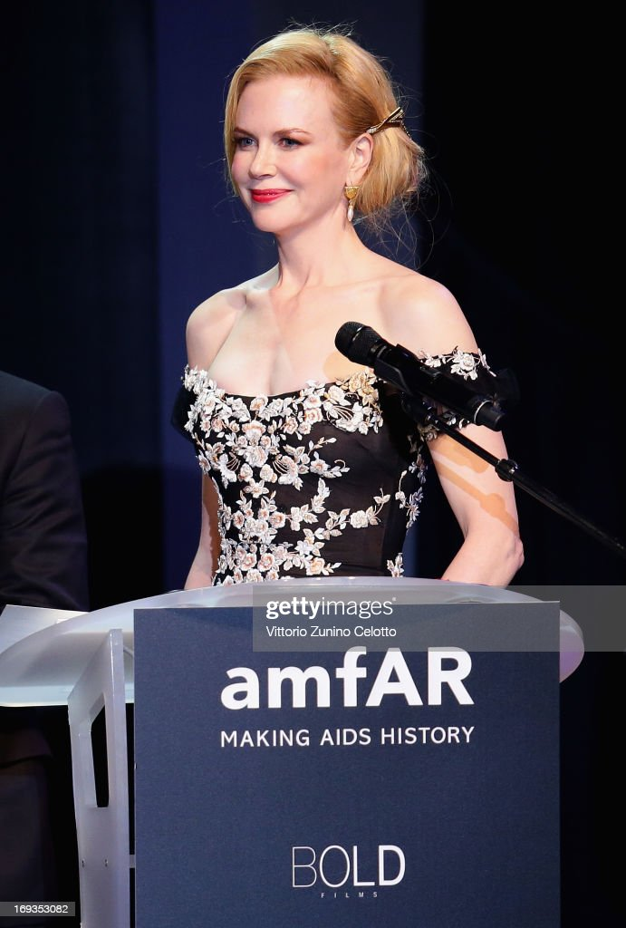 <a gi-track='captionPersonalityLinkClicked' href=/galleries/search?phrase=Nicole+Kidman&family=editorial&specificpeople=156404 ng-click='$event.stopPropagation()'>Nicole Kidman</a> speaks on stage at amfAR's 20th Annual Cinema Against AIDS during The 66th Annual Cannes Film Festival at Hotel du Cap-Eden-Roc on May 23, 2013 in Cap d'Antibes, France.