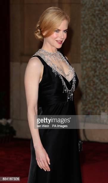 Nicole Kidman wearing a Balenciaga dress accented with L'Wren Scott necklace arrives for the 80th Academy Awards at the Kodak Theatre Los Angeles