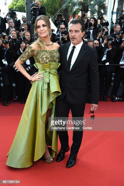 Nicole Kimpel and actor Antonio Banderas attend the 70th Anniversary of the 70th annual Cannes Film Festival at Palais des Festivals on May 23 2017...