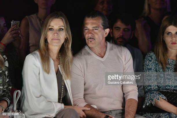 Nicole Kimpel and Antonio Banderas are seen front row at the Fisico Show during Miami Fashion Week at Ice Palace Film Studios on June 3 2017 in Miami...