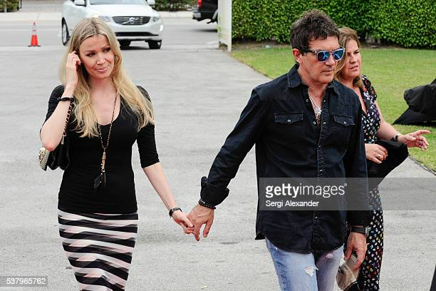 Nicole Kimpel and Antonio Banderas arrive during day 2 of Miami Fashion Week at Ice Palace on June 3 2016 in Miami Florida