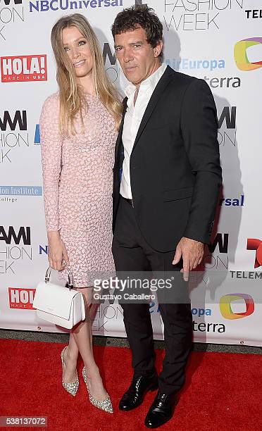 Nicole Kimpel and Antonio Banderas attend Antonio Banderas Miami Fashion Week Soiree at Vizcaya Museum Gardens on June 4 2016 in Miami Florida