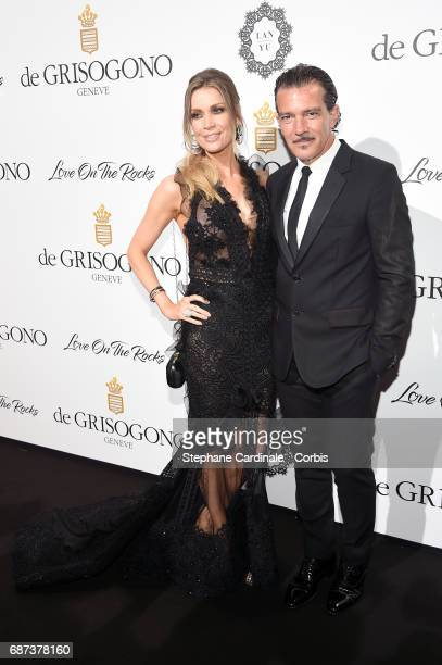 Nicole Kimpel and Antonio Banderas attend DeGrisogono 'Love On The Rocks' during the 70th annual Cannes Film Festival at Hotel du CapEdenRoc on May...