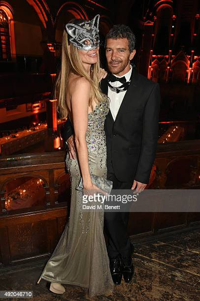 Nicole Kimpel and Antonio Banderas attend Eva Cavalli's birthday dinner party at One Mayfair on October 9 2015 in London England