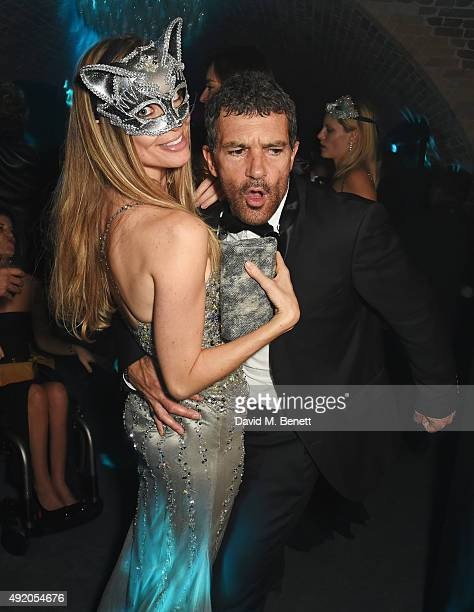 Nicole Kimpel and Antonio Banderas attend Eva Cavalli's birthday party at One Mayfair on October 9 2015 in London England