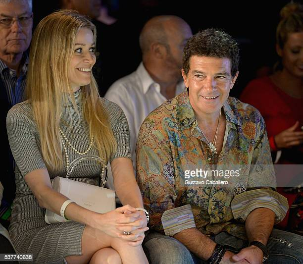 Nicole Kimpel and Antonio Banderas attend the Fisico Fashion Show during Miami Fashion Week at Ice Palace on June 2 2016 in Miami Florida